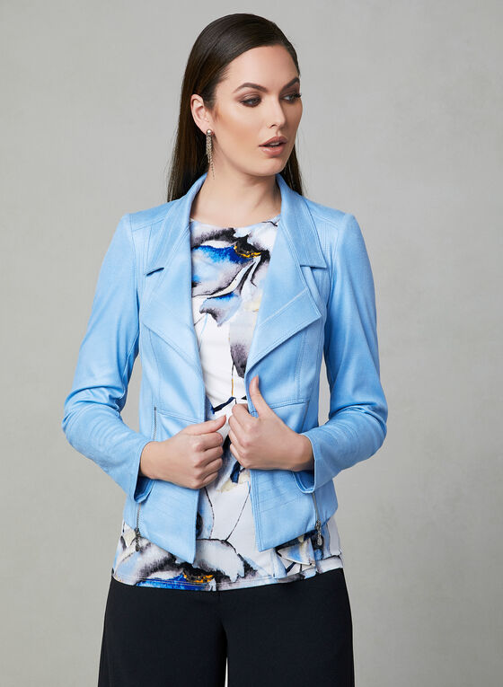 Vex - Faux Suede Open Front Jacket, Blue