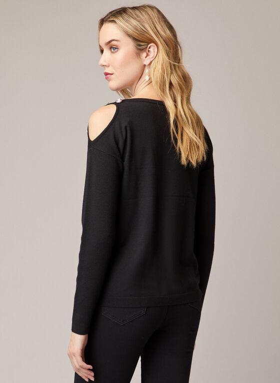 Jewel Detail Cold Shoulder Sweater , Black