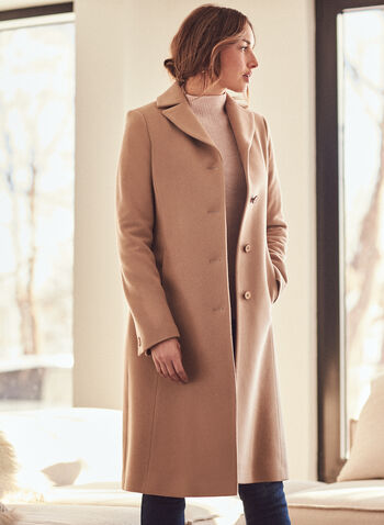 Mallia - Wool & Cashmere Blend Coat, Brown,  coat, notched collar, wool, cashmere, button front, fall winter 2020