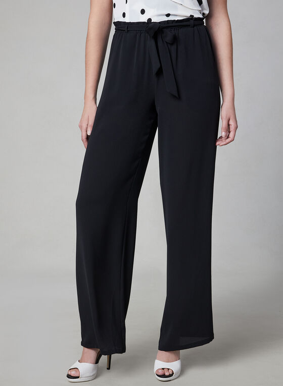 Wide Leg Tie Detail Pants, Black