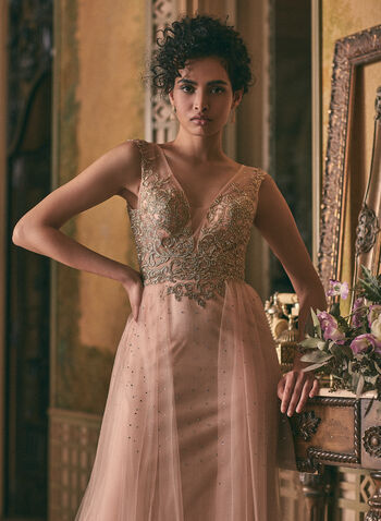 BA Nites - Embroidered Rhinestone Dress, Pink,  prom dress, gown, a-line, v-neck, mesh, embroidery, rhinestones, open back, spring summer 2021
