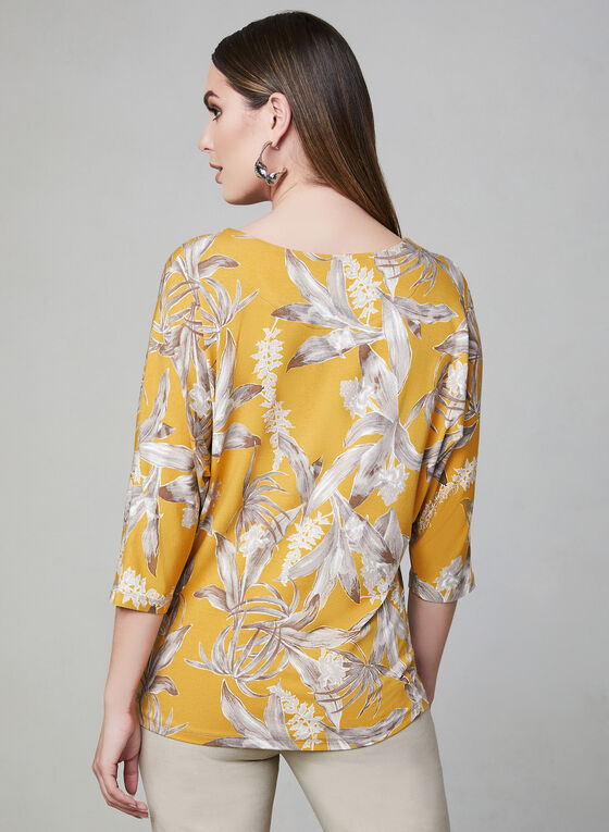 Floral Print Dolman Sleeve Top, Yellow, hi-res