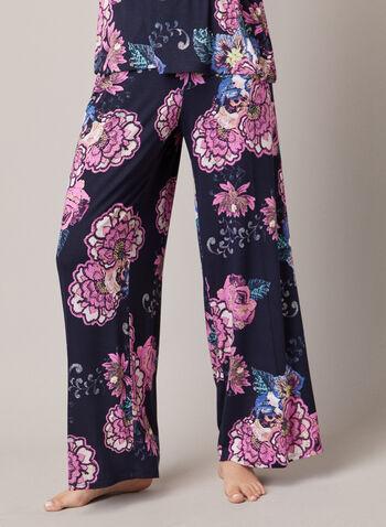 Ensemble pyjama à motif fleuri, Bleu,  automne hiver 2020, ensemble, pyjama