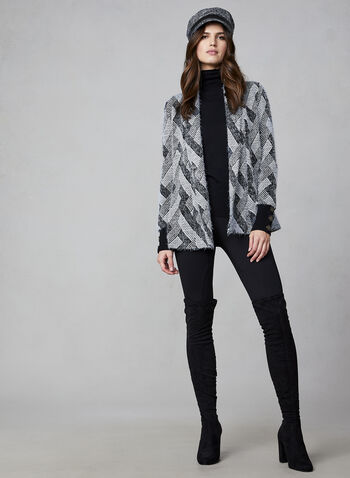 Hairy Knit Open Front Cardigan, Black,  canada, open front, cardigan, top, knit, sweater, jacquard, fall 2019, winter 2019