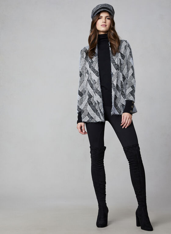 Hairy Knit Open Front Cardigan, Black