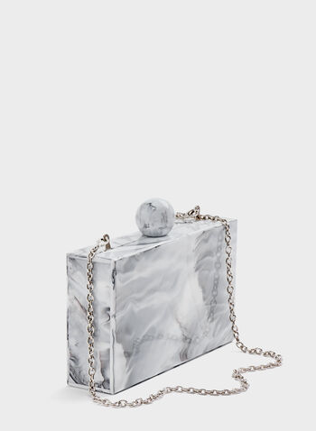 Marble-Effect Lucite Clutch, White, hi-res