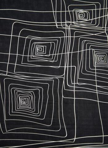 Geometric Print Scarf, Black, hi-res,  necktie, silk, square, fall 2019, winter 2019