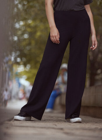Pull On Wide Leg Pants, Black,  fall 2021, pants, wide leg, pull on, french terry, wide, long, comfortable, stretch