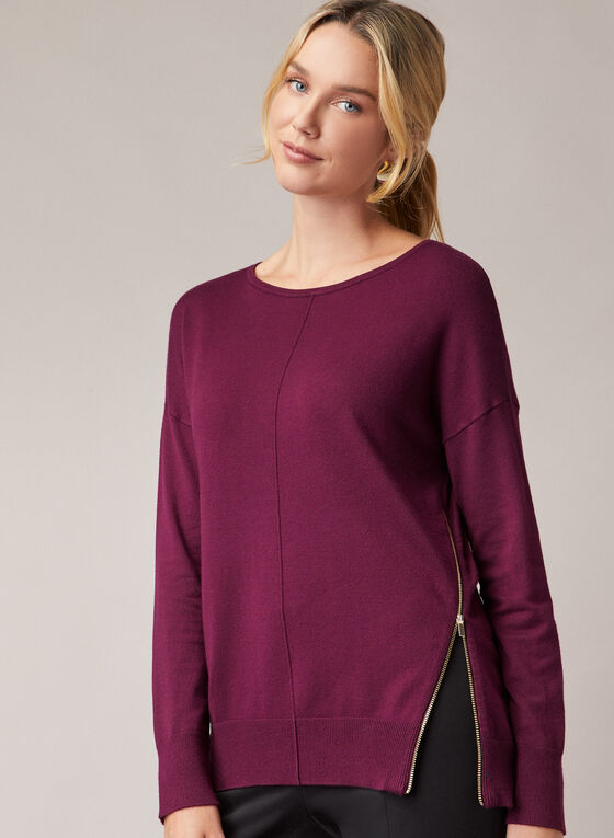 Zipper Detail Sweater, Purple