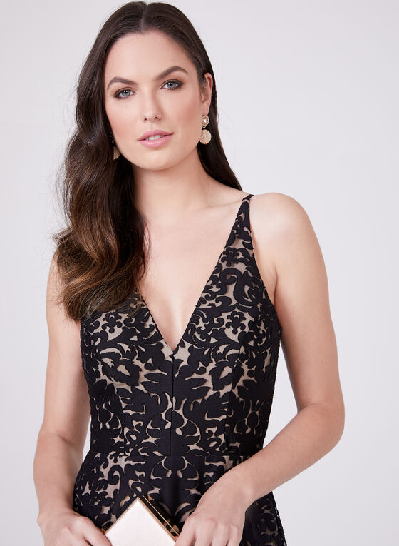 Abstract Burnout Print Gown, Black, hi-res