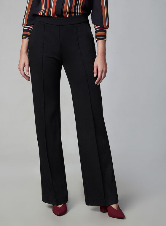 Pull-On Wide Leg Pants , Black
