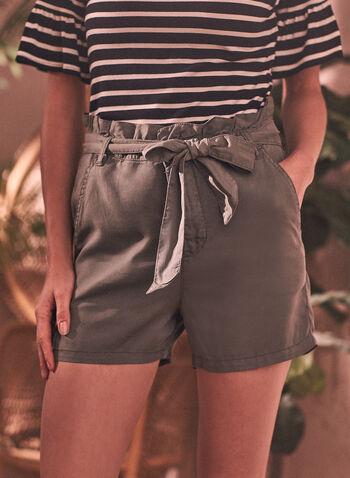 Paperbag Fluid Denim Shorts, Green,  spring summer 2021, shorts, denim, fluid denim, tencel, belted, belt detail, tie detail, knot detail, paperbag, straight leg