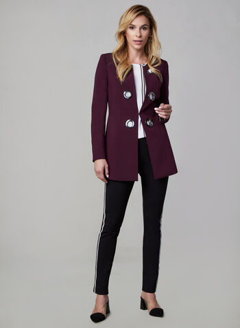 Eyelet Detail Redingote Jacket, Purple,  long jacket, long sleeves, metallic details,