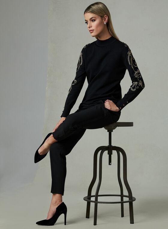 Elena Wang - Pull à col cheminée et broderies, Noir, hi-res