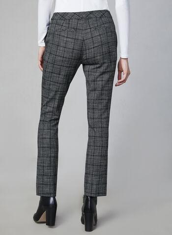 Pantalon à jambe étroite motif tartan, Gris, hi-res,  pantalon, tartan, jambe étroite, pinces, attache, poches, automne hiver 2019