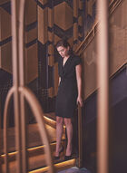 Belted Cap Sleeve Dress, Black