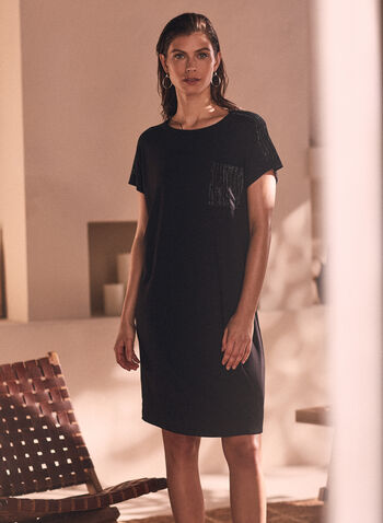 Rhinestone Embellished T-Shirt Dress, Black,  dress, day, shirt, t-shirt, tee, pocket, rhinestone, embellished, short sleeves, spring summer 2021