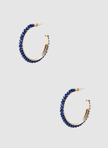 Faceted Bead Hoop Earrings, Blue, hi-res