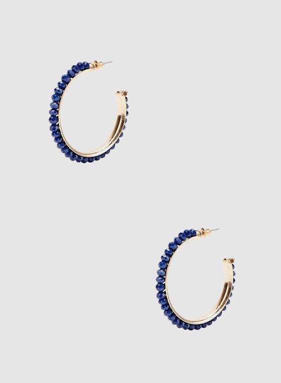 Faceted Bead Hoop Earrings, Blue, hi-res
