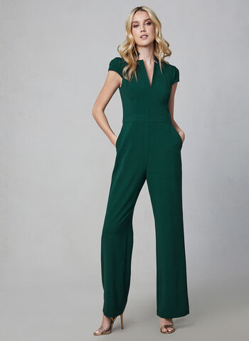 Vince Camuto - Short Sleeve Jumpsuit, Green,  Vince Camuto, jumpsuit, V-neck, short sleeves, crepe, wide leg, fall 2019, winter 2019