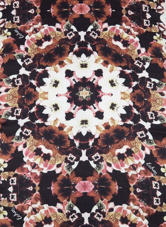 Foulard oblong à fleurs , Noir, hi-res