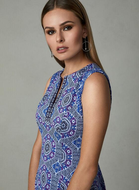 Maggy London - Sleeveless Aztec Print Dress, Blue, hi-res