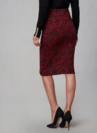 Zebra Print Pencil Skirt, Black