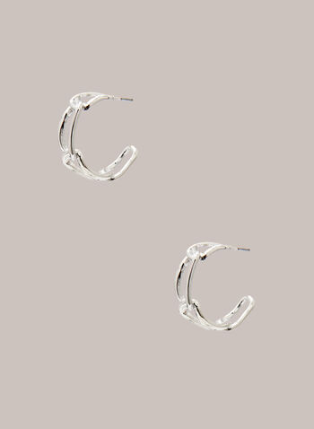 Oval Link Hoop Earrings, Silver,  earrings, jewellery, hoop, link, oval, metallic, silver, fall winter 2020