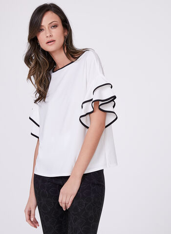 Short Sleeve Ruffle Detail Top, Off White, hi-res