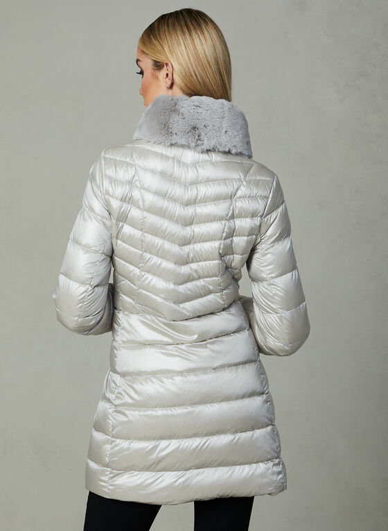 Karl Lagerfeld - Faux Fur Trim Quilted Coat , Silver, hi-res