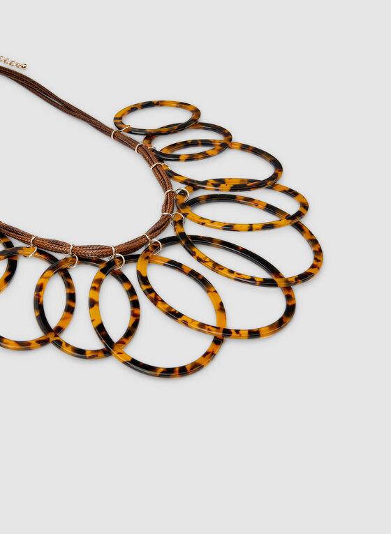 Collier à anneaux tortoise et cordes, Brun, hi-res
