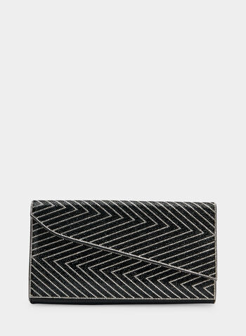Asymmetric Envelope Clutch, Black, hi-res,  crystals, zigzag, asymmetric, fall 2019, winter 2019