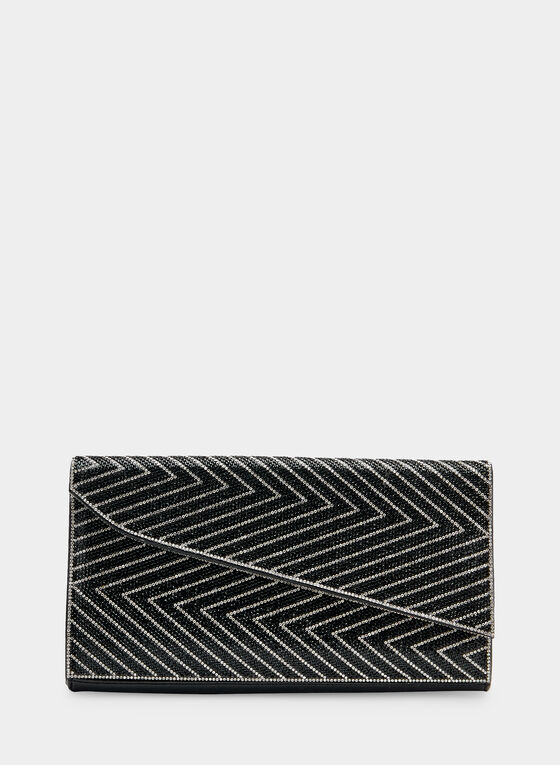 Asymmetric Envelope Clutch, Black