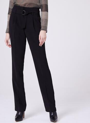 Pantalon à jambe droite en triacétate avec ceinture, Noir, hi-res