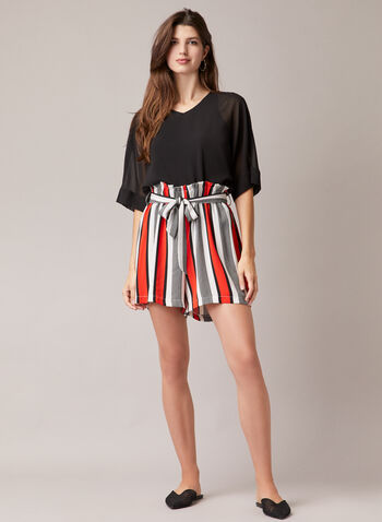 Stripe Print Belted Shorts, Black,  shorts, fluid, crepe, stripe print, belt, spring summer 2020