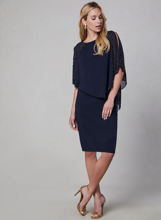 BA NItes - Robe poncho à détails perlés, Bleu