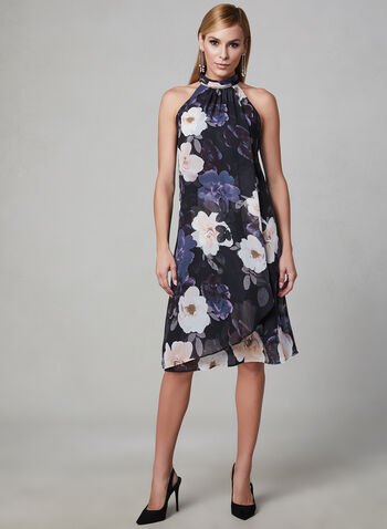 Floral Print Sleeveless Dress, Black, hi-res,  chiffon, mock neck, pleated, spring 2019