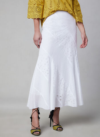 Embroidered Maxi Skirt, White, hi-res,  eyelets, long skirt, A-line, spring 2019