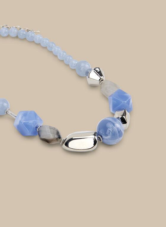 Collier court à perles et pierres, Bleu