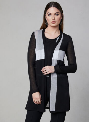 Elena Wang - Cardigan ouvert avec blocs de couleurs, Noir, hi-res,  manches longues, printemps 2019