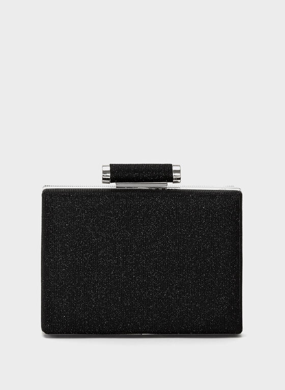Two-Tone Glitter Box Clutch, Black, hi-res