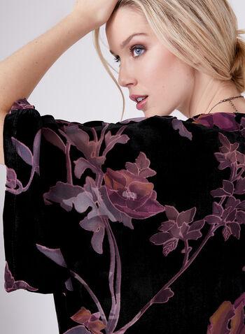 Floral Print Chiffon & Velvet Kimono , Black, hi-res