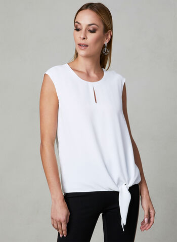 Tie Front Blouse, Off White, hi-res
