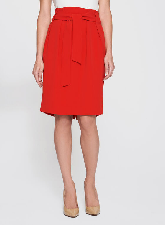 High Waist Paperbag Skirt, Red, hi-res