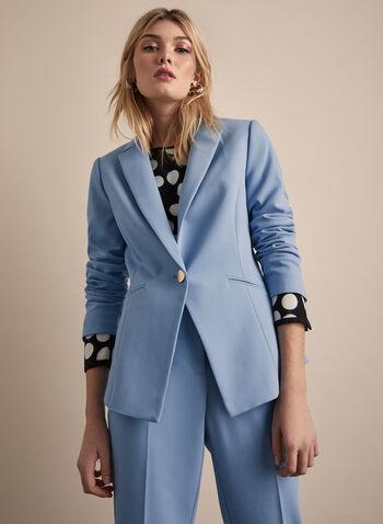 Veste à col cranté, Bleu,  manches longues, boutons métalliques, structuré, printemps été 2020