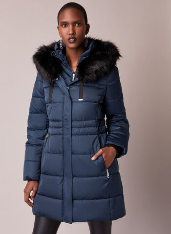Tahari - Faux Fur Trim Quilted Coat, Blue,  fall winter 2020, coat, faux fur, stand collar, grosgrain, ribbed, matte, satin, vegan down, thermatec, vest, warm, winter, hood