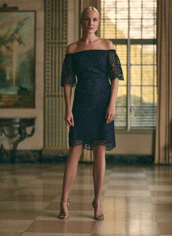 Joseph Ribkoff - Off-the-Shoulder Lace Dress, Blue