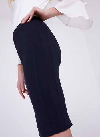 Seam Detail Pencil Skirt, Blue, hi-res