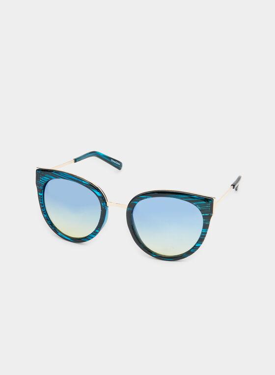Lunettes de soleil œil de chat arrondies, Bleu, hi-res