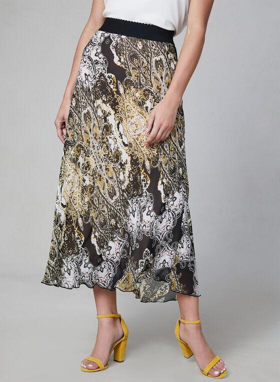 Paisley Print Chiffon Skirt, White